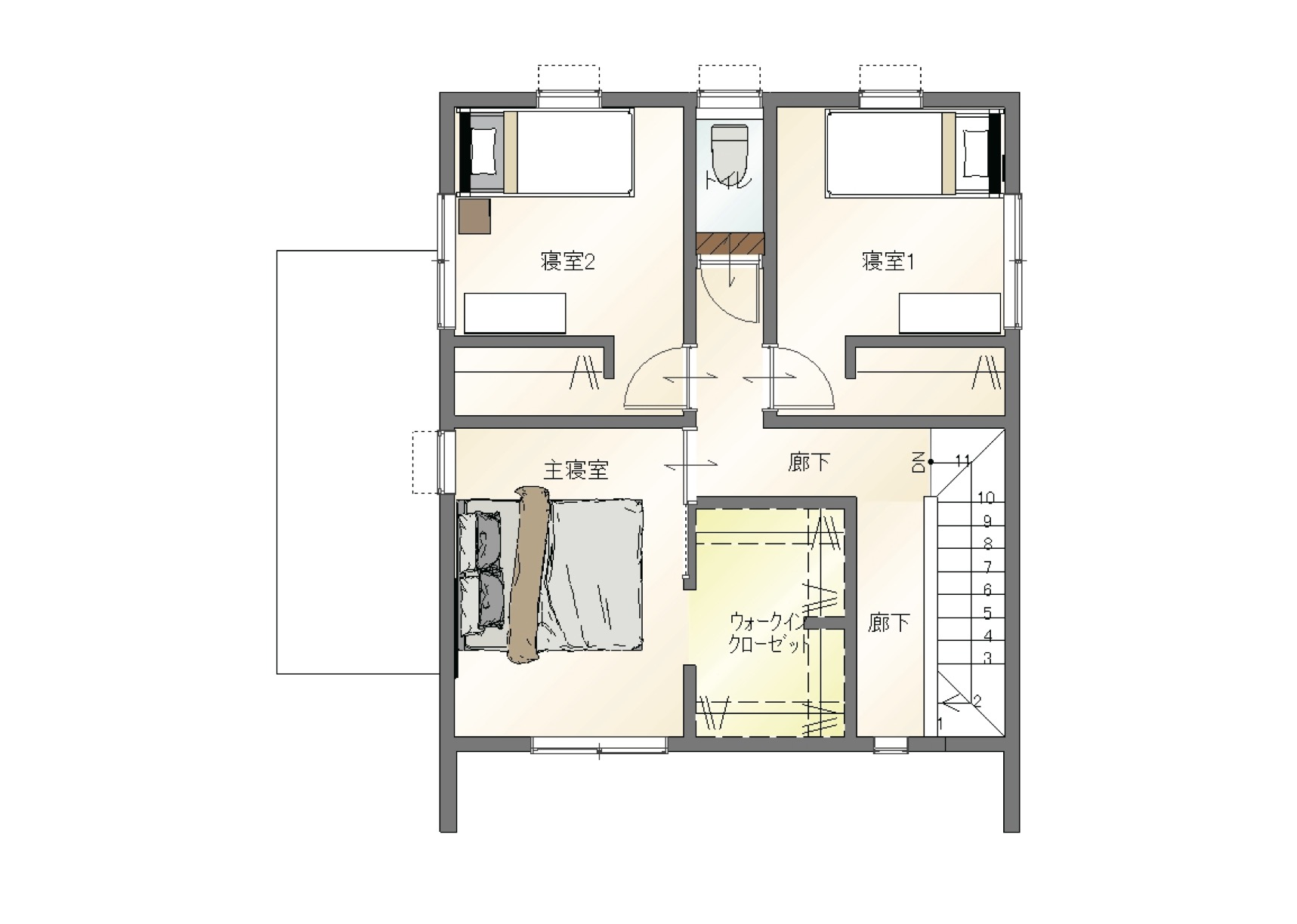 大分市中戸次デザイン分譲住宅 中戸次の家-Ⅰ棟 間取り2階