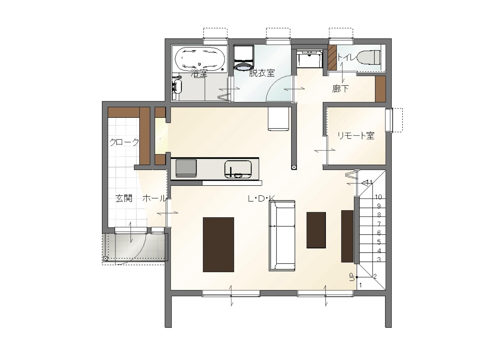 大分市中戸次デザイン分譲住宅 中戸次の家-Ⅰ棟 間取り1階