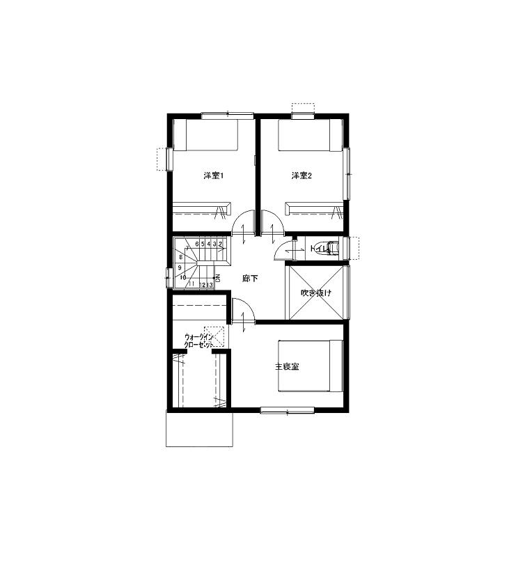 大分市羽田デザイン分譲住宅 間取り2階