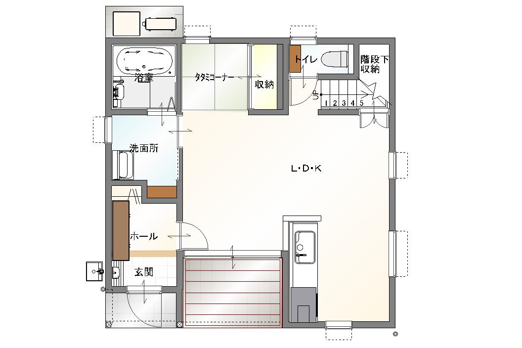 大分市中戸次デザイン分譲住宅 中戸次の家-Ⅱ棟 間取り1階